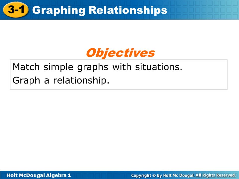 Holt McDougal Algebra 1 3-1 Graphing Relationships Match simple graphs with situations. Graph a relationship. Objectives