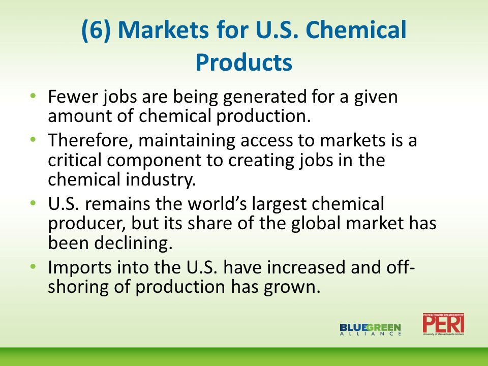 (7) Distribution of the Value of Production of the Global Chemical Industry, 2009