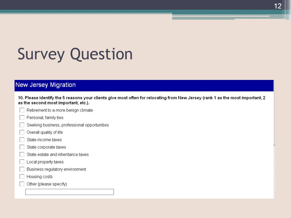 Survey Question 12