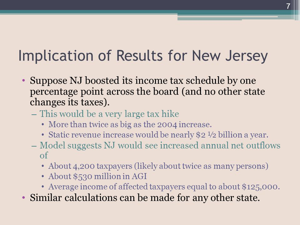 Implication of Results for New Jersey Suppose NJ boosted its income tax schedule by one percentage point across the board (and no other state changes