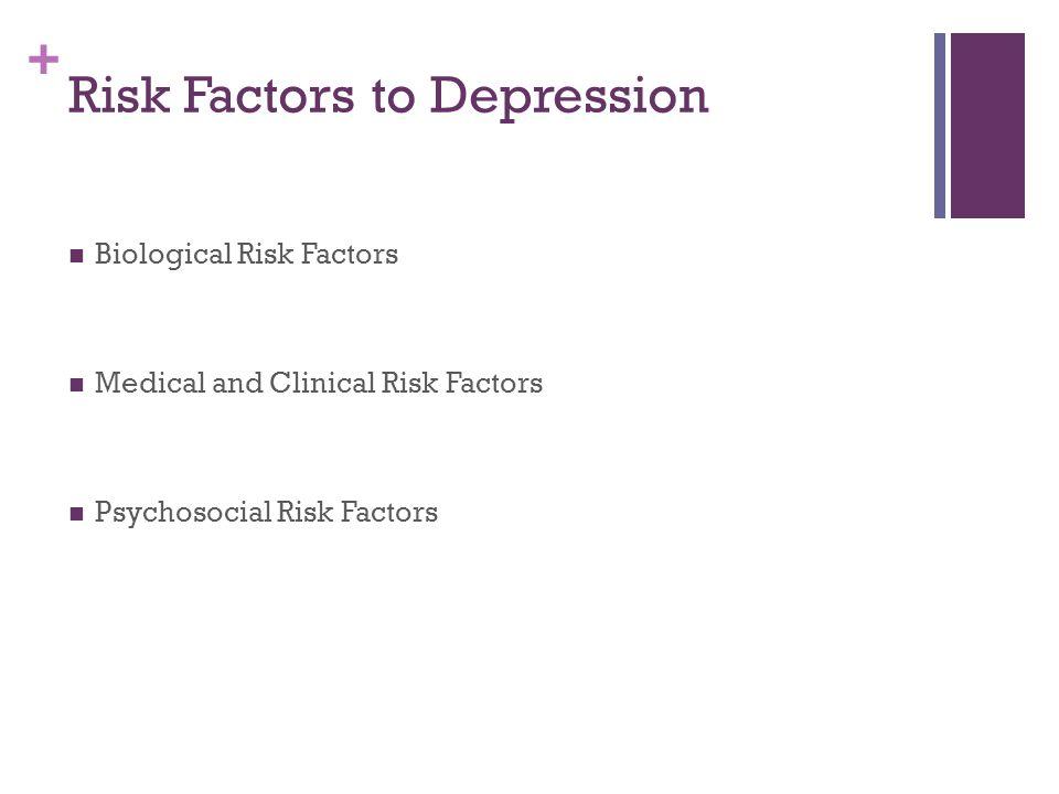 + Risk Factors to Depression Biological Risk Factors Medical and Clinical Risk Factors Psychosocial Risk Factors