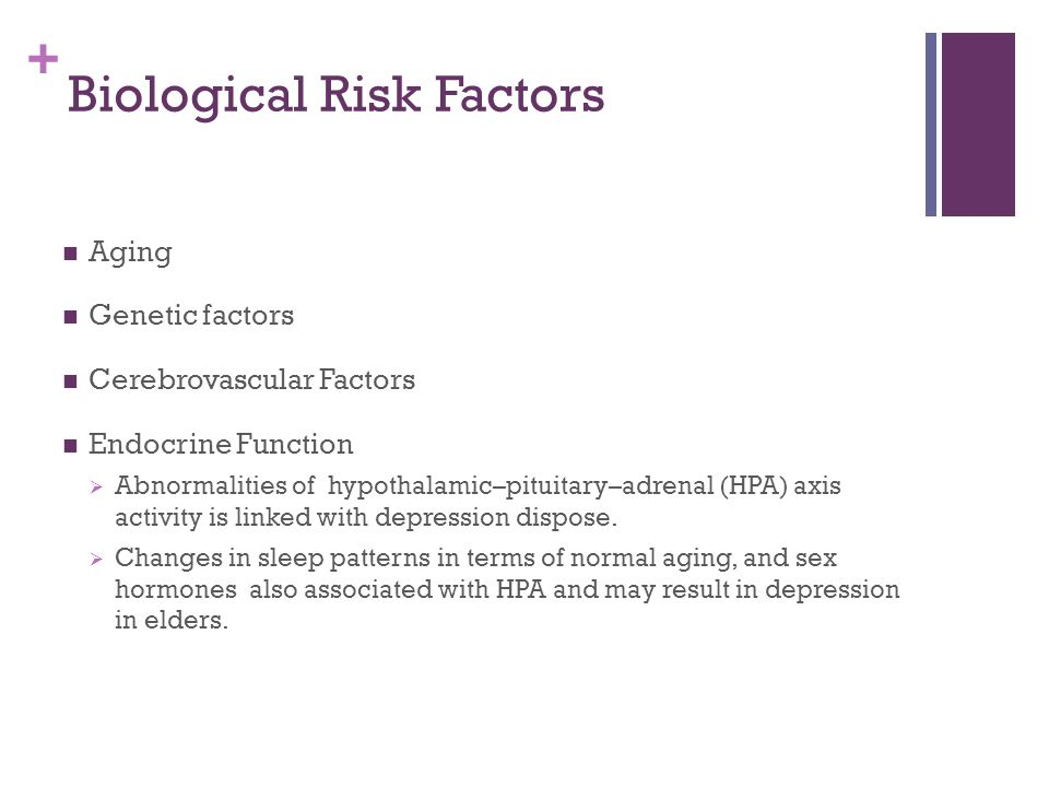 + Biological Risk Factors Aging Genetic factors Cerebrovascular Factors Endocrine Function  Abnormalities of hypothalamic–pituitary–adrenal (HPA) axi