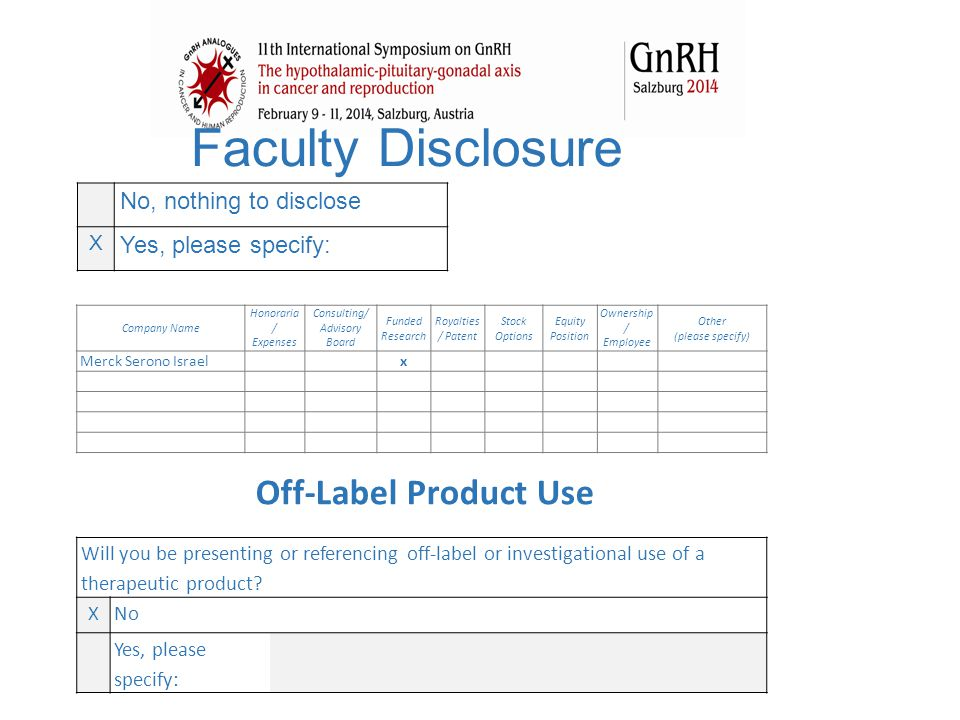 Faculty Disclosure No, nothing to disclose X Yes, please specify: Company Name Honoraria / Expenses Consulting/ Advisory Board Funded Research Royalti