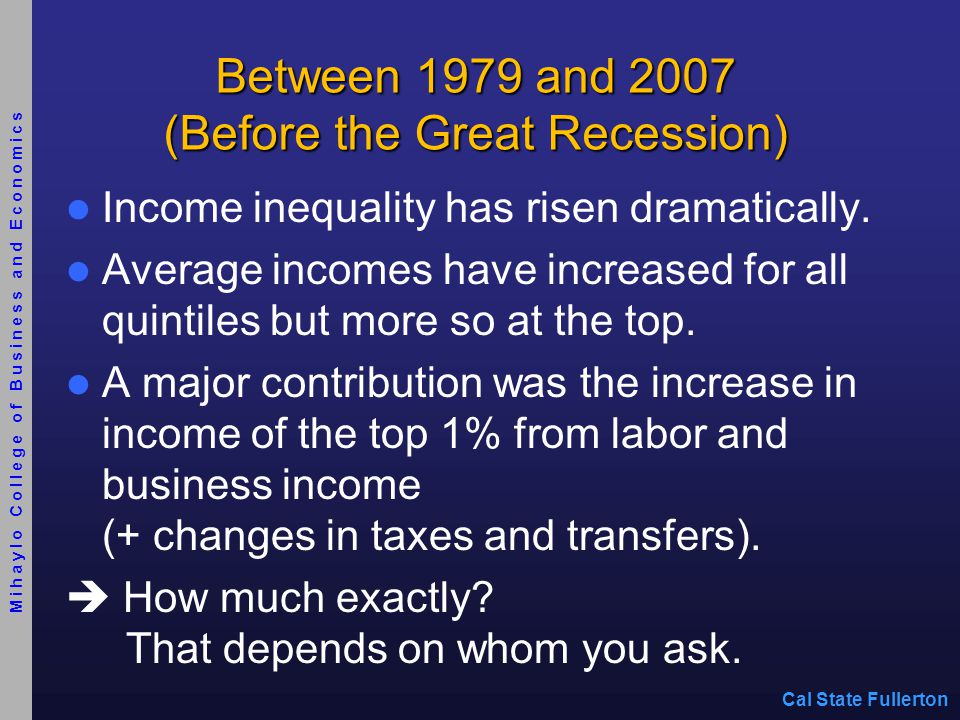 Between 1979 and 2007 (Before the Great Recession) Income inequality has risen dramatically.