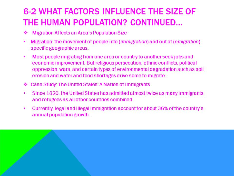 6-2 WHAT FACTORS INFLUENCE THE SIZE OF THE HUMAN POPULATION? CONTINUED…  Migration Affects an Area's Population Size Migration: the movement of peopl
