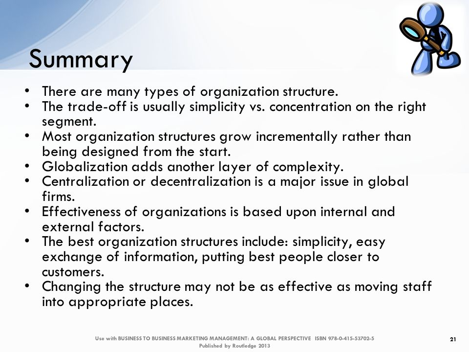 Summary 21 There are many types of organization structure.