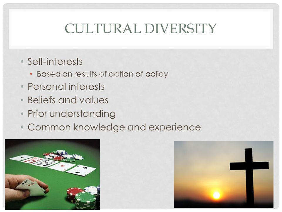 CULTURAL DIVERSITY Self-interests Based on results of action of policy Personal interests Beliefs and values Prior understanding Common knowledge and experience
