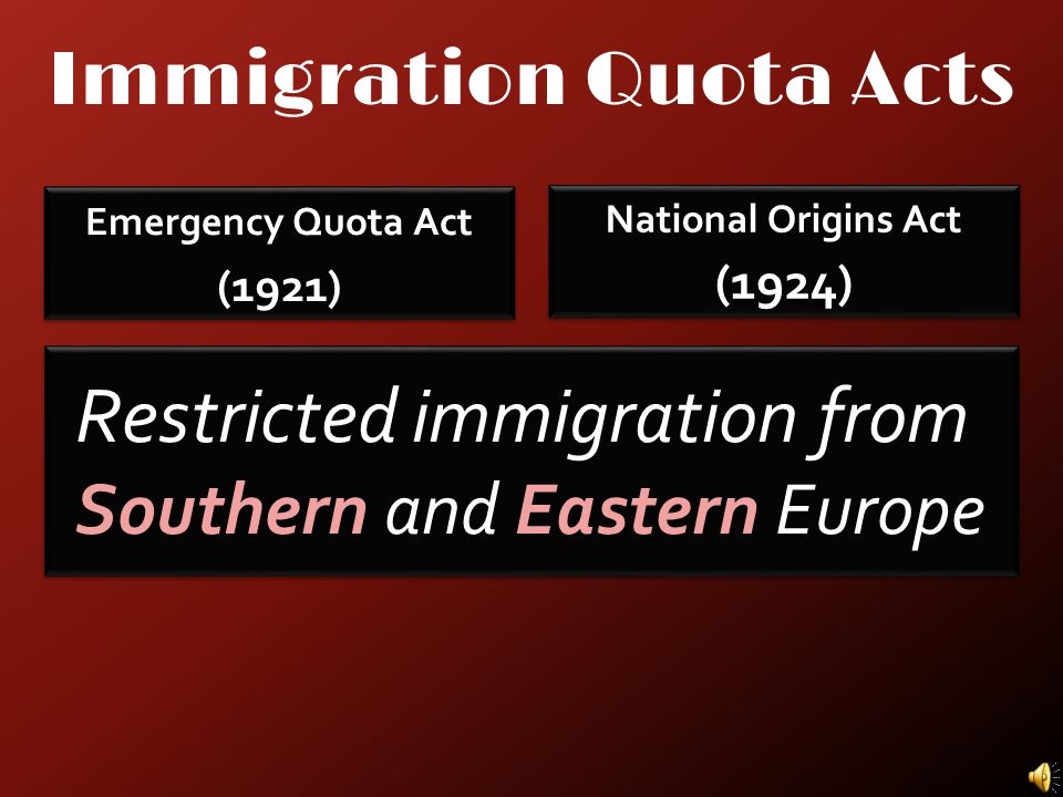 Immigration Quota Acts Emergency Quota Act (1921) Emergency Quota Act (1921) National Origins Act (1924) National Origins Act (1924)
