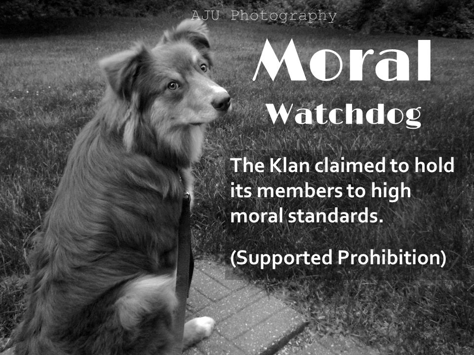 Moral Watchdog The Klan claimed to hold its members to high moral standards. (Supported Prohibition)