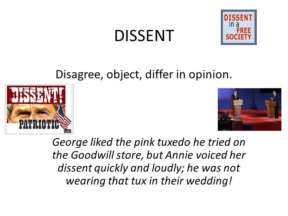 DISSENT Disagree, object, differ in opinion.