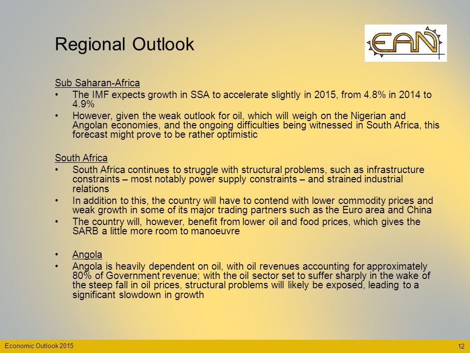 Regional Outlook Sub Saharan-Africa The IMF expects growth in SSA to accelerate slightly in 2015, from 4.8% in 2014 to 4.9% However, given the weak ou