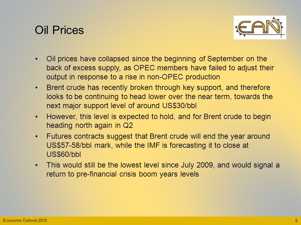 Economic Outlook 2015 Oil Prices 6 Oil prices have collapsed since the beginning of September on the back of excess supply, as OPEC members have faile