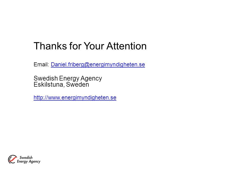 Thanks for Your Attention Email: Daniel.friberg@energimyndigheten.seDaniel.friberg@energimyndigheten.se Swedish Energy Agency Eskilstuna, Sweden http://www.energimyndigheten.se