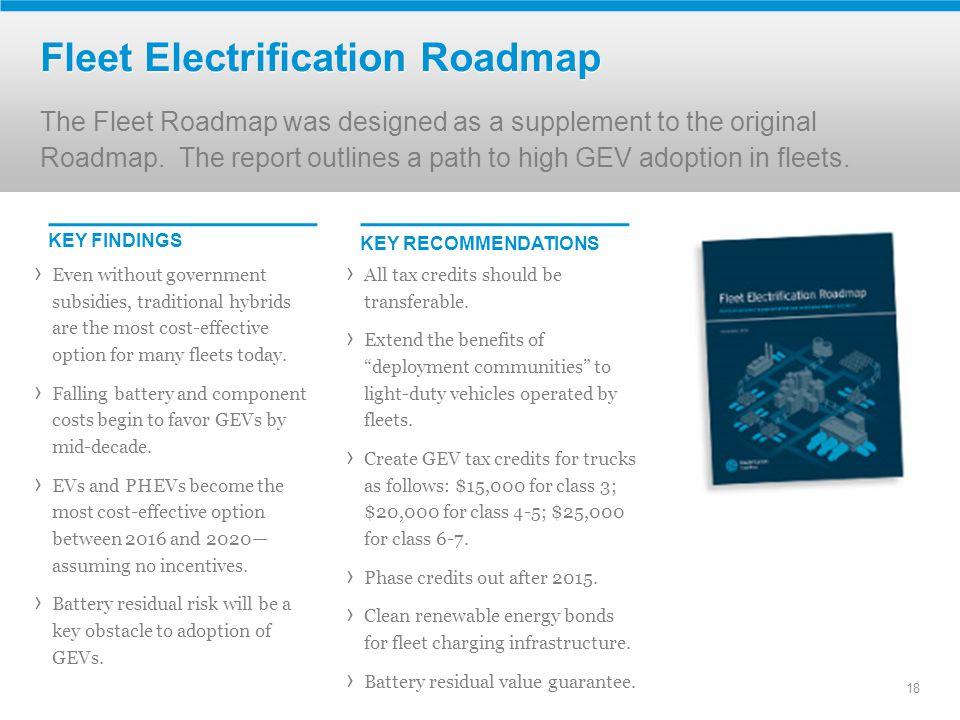Fleet Electrification Roadmap The Fleet Roadmap was designed as a supplement to the original Roadmap.