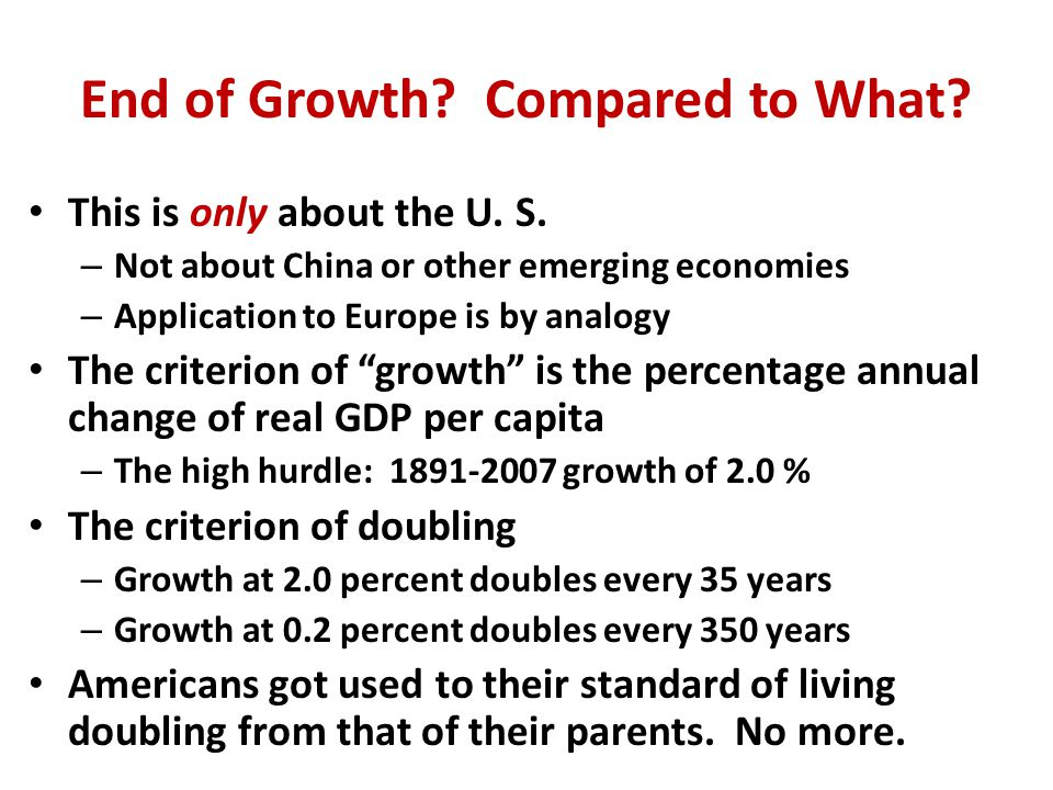 We Care About the Standard of Living, Not the Same as Productivity Growth Total Output or GDP (Y).