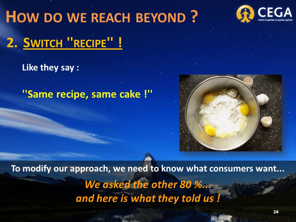 2.S WITCH RECIPE . 24 H OW DO WE REACH BEYOND .