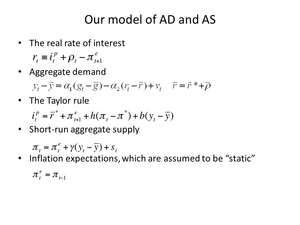 Our model of AD and AS The real rate of interest Aggregate demand The Taylor rule Short-run aggregate supply Inflation expectations, which are assumed to be static