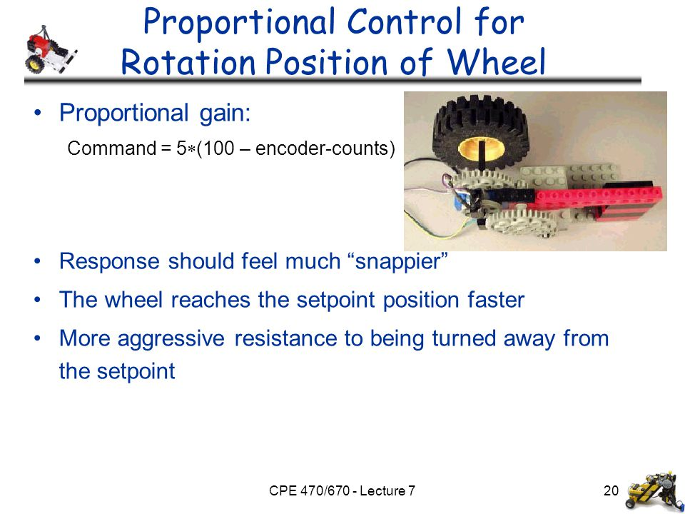 CPE 470/670 - Lecture 720 Proportional Control for Rotation Position of Wheel Proportional gain: Command = 5  (100 – encoder-counts) Response should