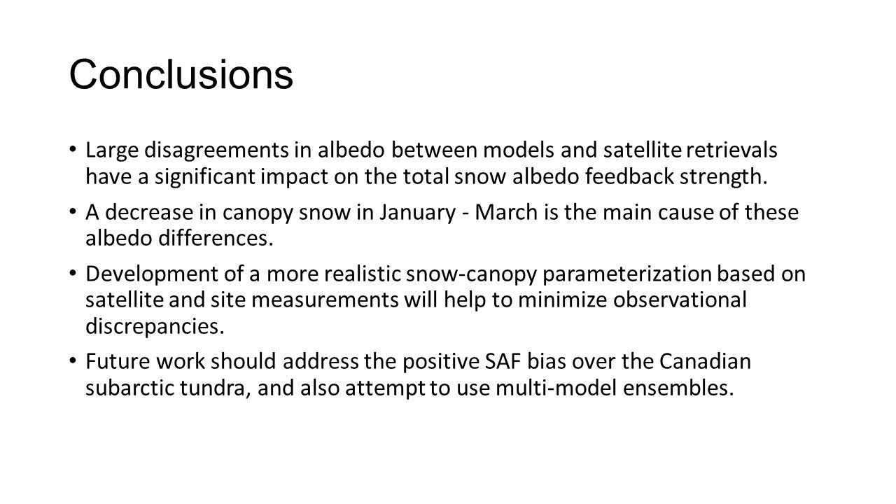 Conclusions Large disagreements in albedo between models and satellite retrievals have a significant impact on the total snow albedo feedback strength
