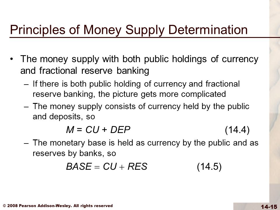 © 2008 Pearson Addison-Wesley. All rights reserved 14-15 Principles of Money Supply Determination The money supply with both public holdings of curren