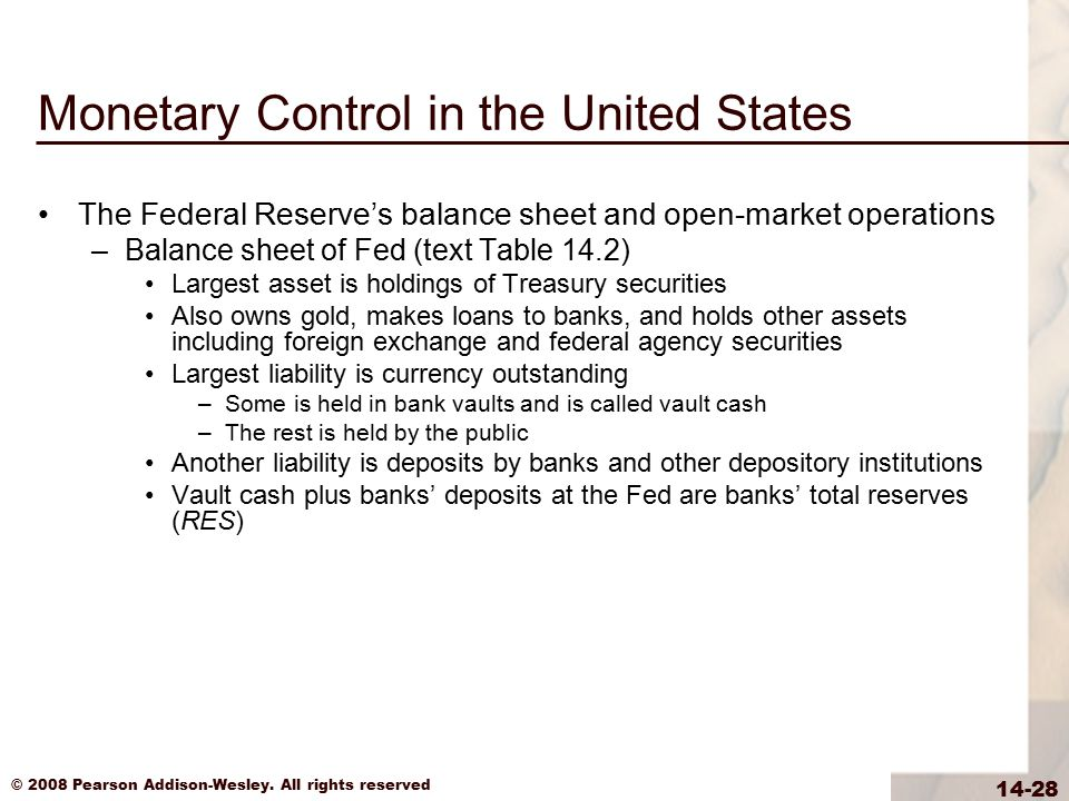 © 2008 Pearson Addison-Wesley. All rights reserved 14-28 Monetary Control in the United States The Federal Reserve's balance sheet and open-market ope