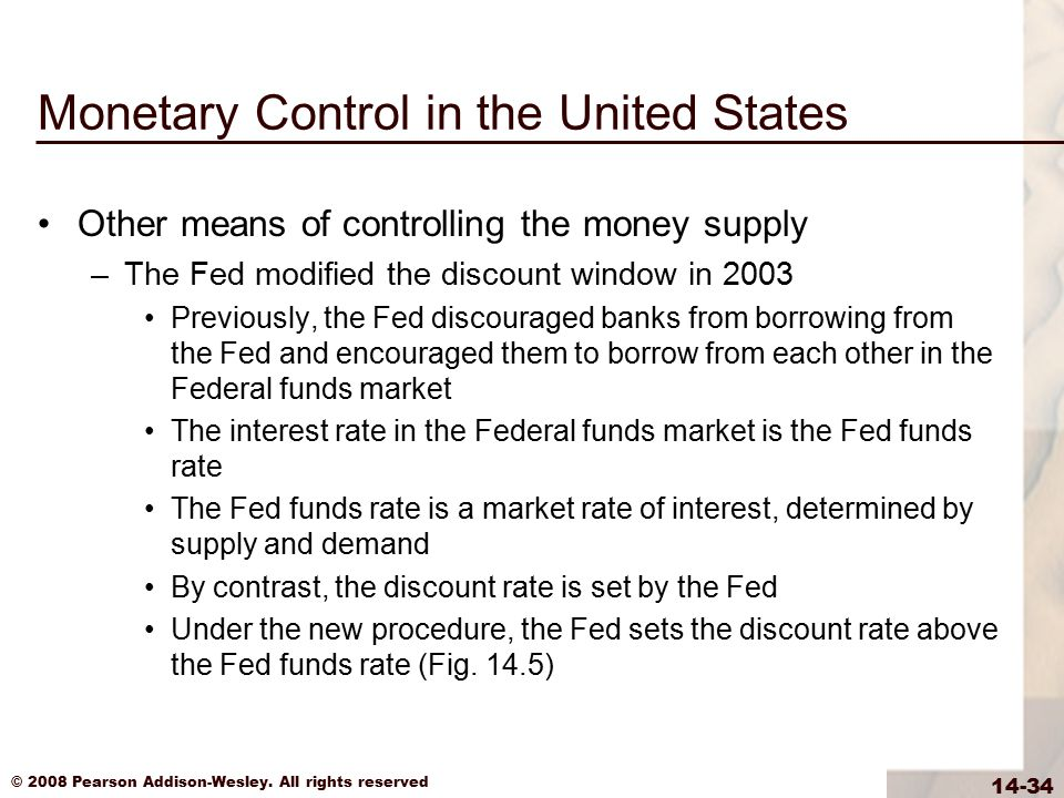 © 2008 Pearson Addison-Wesley. All rights reserved 14-34 Monetary Control in the United States Other means of controlling the money supply –The Fed mo