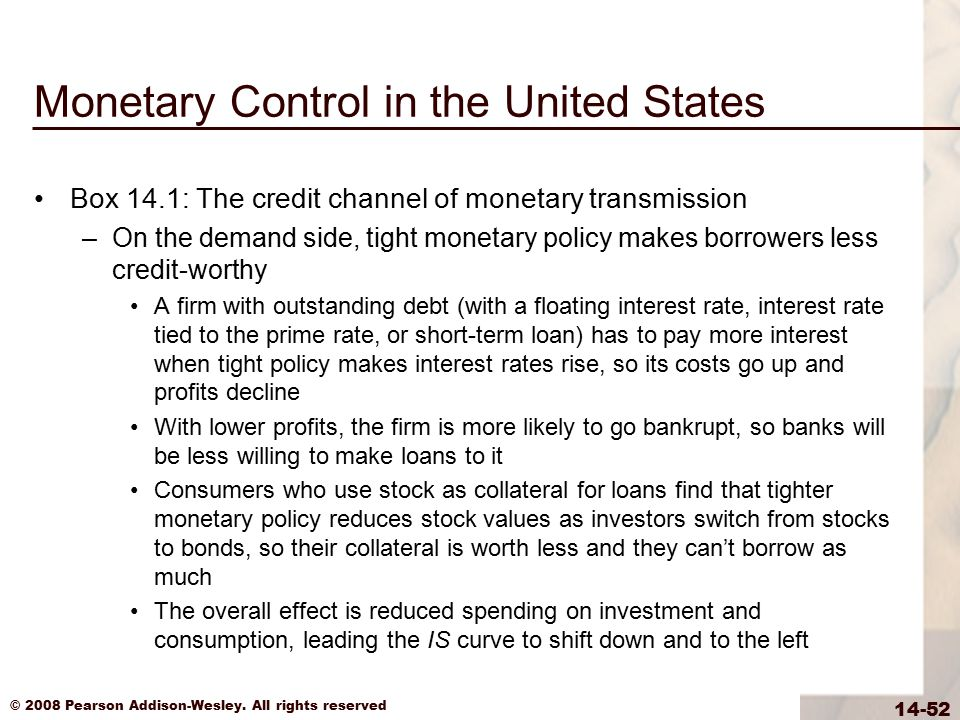 © 2008 Pearson Addison-Wesley. All rights reserved 14-52 Monetary Control in the United States Box 14.1: The credit channel of monetary transmission –
