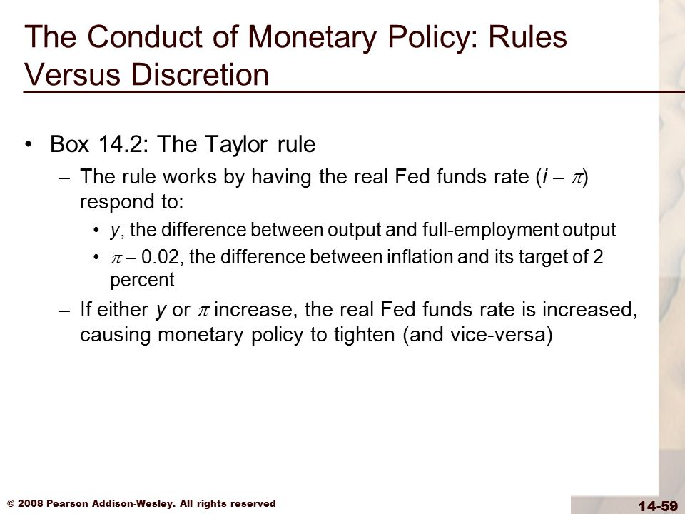 © 2008 Pearson Addison-Wesley. All rights reserved 14-59 The Conduct of Monetary Policy: Rules Versus Discretion Box 14.2: The Taylor rule –The rule w
