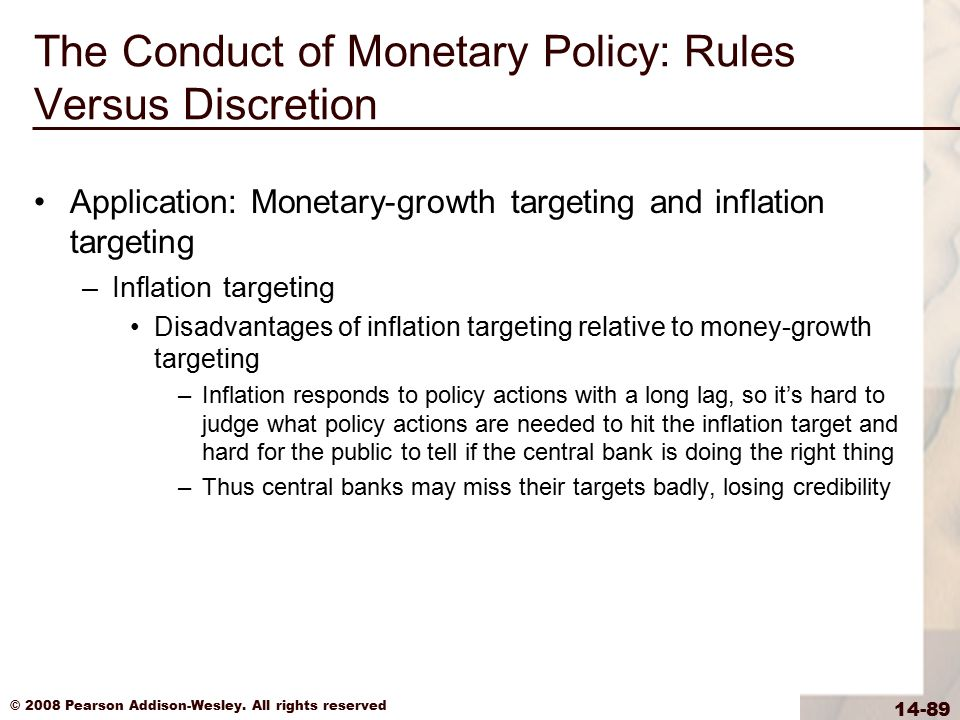 © 2008 Pearson Addison-Wesley. All rights reserved 14-89 The Conduct of Monetary Policy: Rules Versus Discretion Application: Monetary-growth targetin