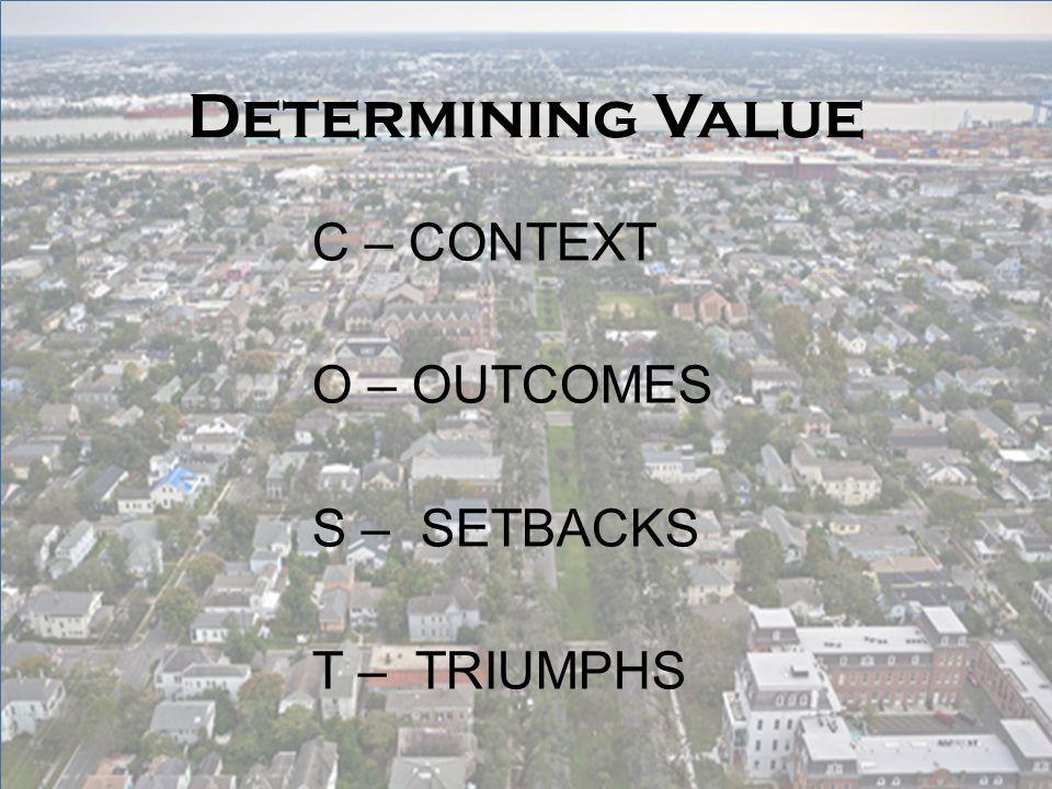 Determining Value C – CONTEXT O – OUTCOMES S – SETBACKS T – TRIUMPHS