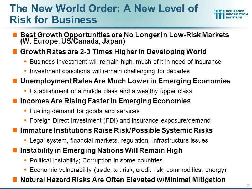 12/01/09 - 9pmeSlide – P6466 – The Financial Crisis and the Future of the P/C 37 The New World Order: A New Level of Risk for Business Best Growth Opportunities are No Longer in Low-Risk Markets (W.