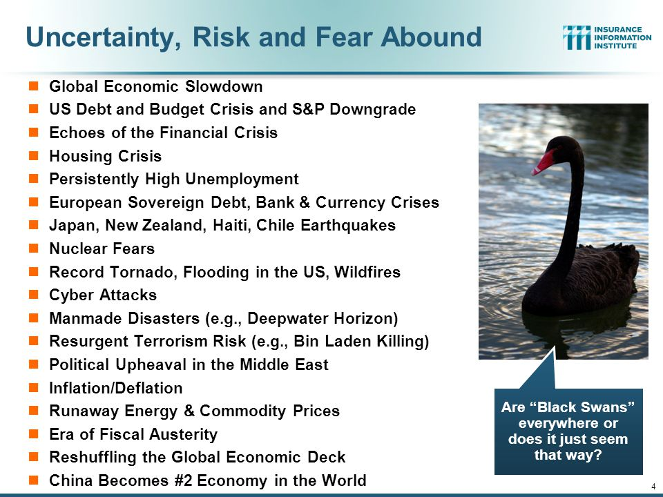 12/01/09 - 9pmeSlide – P6466 – The Financial Crisis and the Future of the P/C 4 Uncertainty, Risk and Fear Abound Global Economic Slowdown US Debt and Budget Crisis and S&P Downgrade Echoes of the Financial Crisis Housing Crisis Persistently High Unemployment European Sovereign Debt, Bank & Currency Crises Japan, New Zealand, Haiti, Chile Earthquakes Nuclear Fears Record Tornado, Flooding in the US, Wildfires Cyber Attacks Manmade Disasters (e.g., Deepwater Horizon) Resurgent Terrorism Risk (e.g., Bin Laden Killing) Political Upheaval in the Middle East Inflation/Deflation Runaway Energy & Commodity Prices Era of Fiscal Austerity Reshuffling the Global Economic Deck China Becomes #2 Economy in the World Are Black Swans everywhere or does it just seem that way