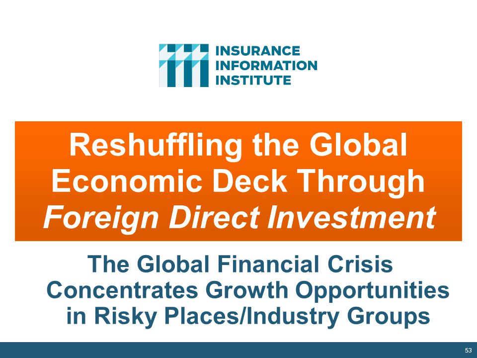53 Reshuffling the Global Economic Deck Through Foreign Direct Investment The Global Financial Crisis Concentrates Growth Opportunities in Risky Places/Industry Groups
