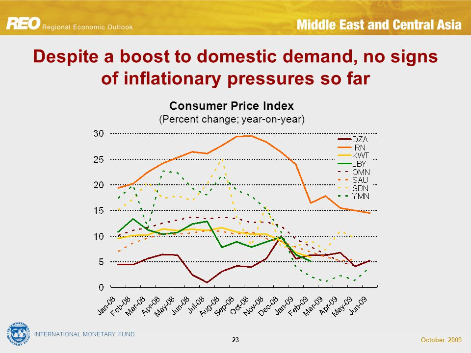 INTERNATIONAL MONETARY FUND October 200923 Despite a boost to domestic demand, no signs of inflationary pressures so far Consumer Price Index (Percent change; year-on-year)