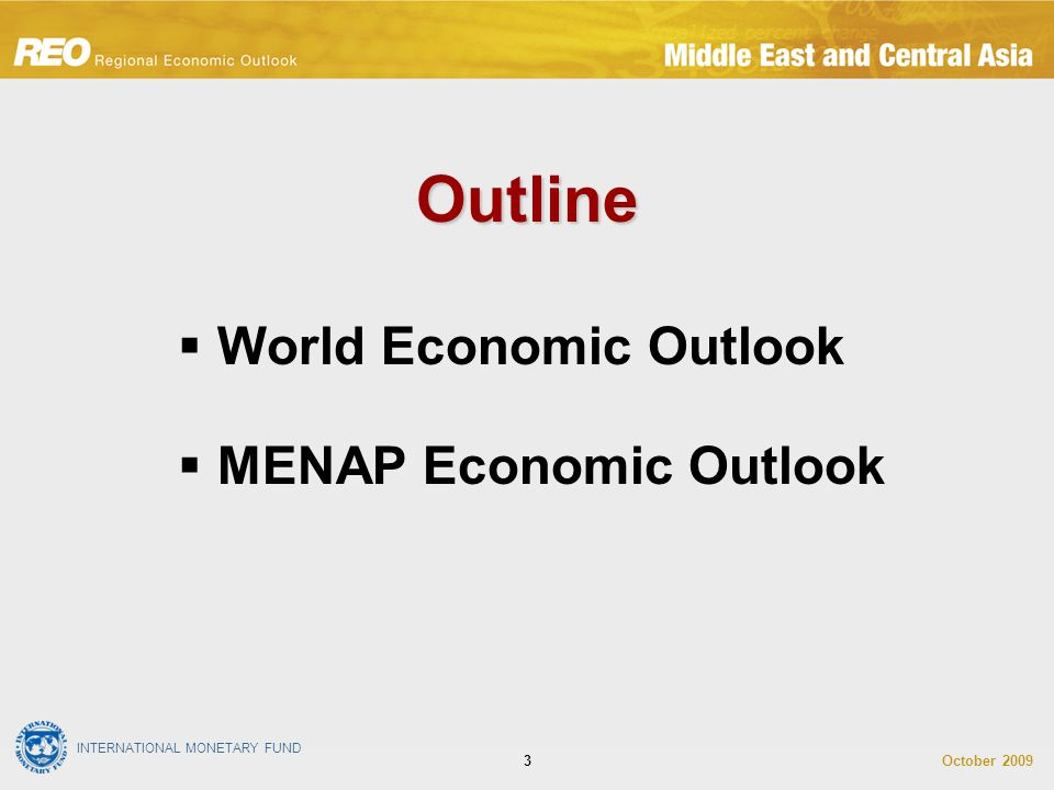 INTERNATIONAL MONETARY FUND October 20093 Outline  World Economic Outlook  MENAP Economic Outlook