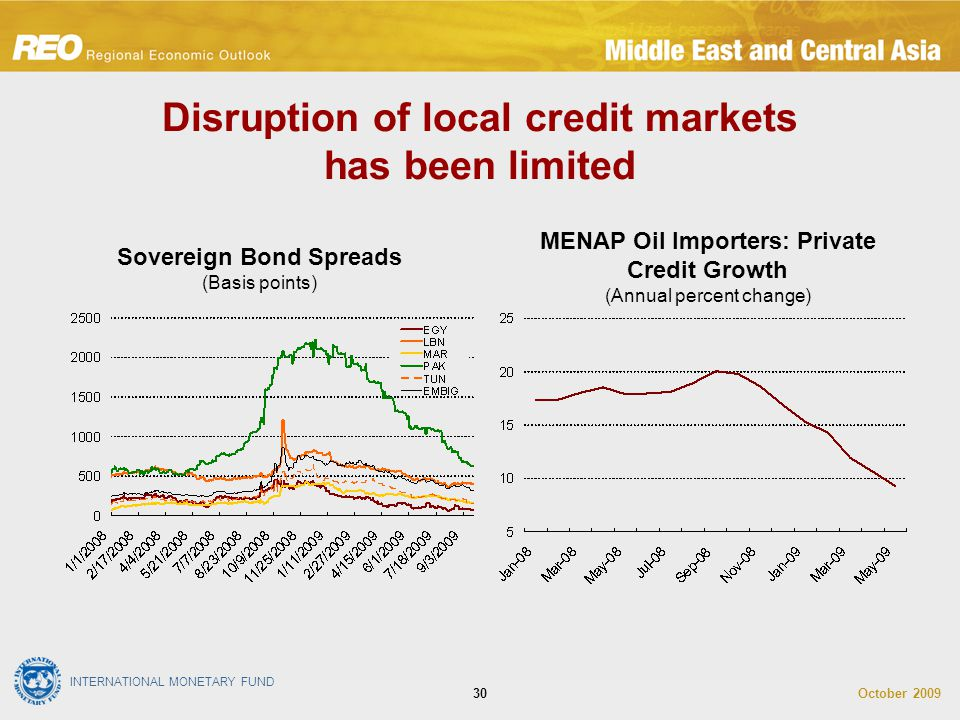 INTERNATIONAL MONETARY FUND October 200930 Disruption of local credit markets has been limited MENAP Oil Importers: Private Credit Growth (Annual percent change) Sovereign Bond Spreads (Basis points)