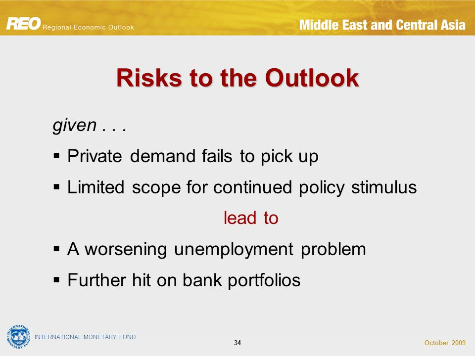 INTERNATIONAL MONETARY FUND October 200934 Risks to the Outlook given...  Private demand fails to pick up  Limited scope for continued policy stimul