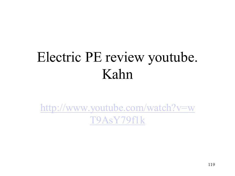 Electric PE review youtube. Kahn http://www.youtube.com/watch v=w T9AsY79f1k 119