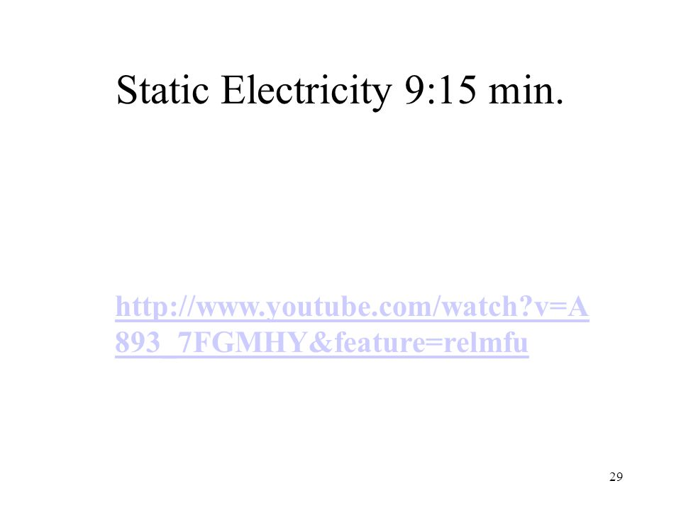 Static Electricity 9:15 min. 29 http://www.youtube.com/watch v=A 893_7FGMHY&feature=relmfu