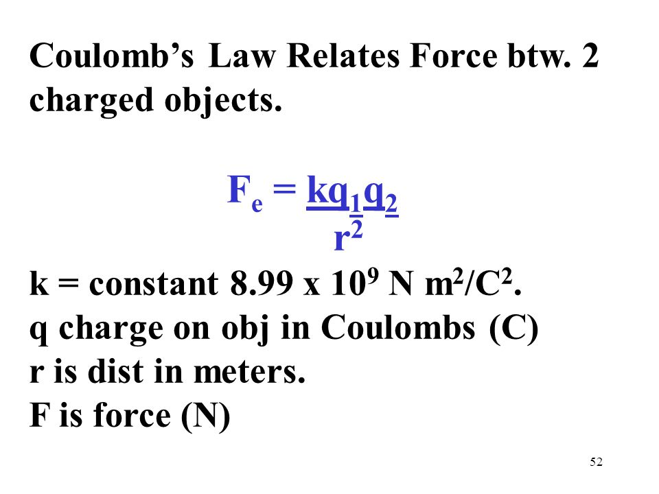 52 Coulomb's Law Relates Force btw. 2 charged objects.