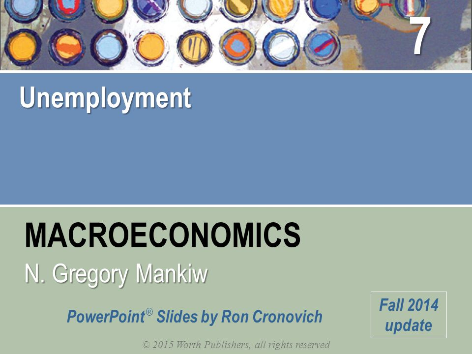 MACROECONOMICS © 2015 Worth Publishers, all rights reserved N. Gregory Mankiw PowerPoint ® Slides by Ron Cronovich Fall 2014 update Unemployment 7