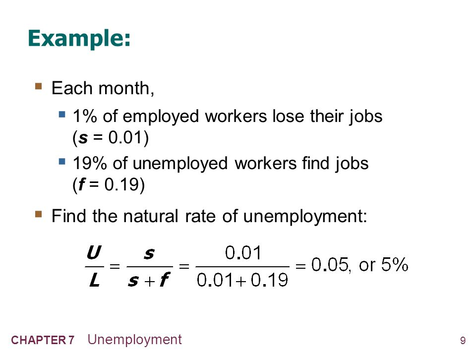 9 CHAPTER 7 Unemployment Example:  Each month,  1% of employed workers lose their jobs (s = 0.01)  19% of unemployed workers find jobs (f = 0.19) 