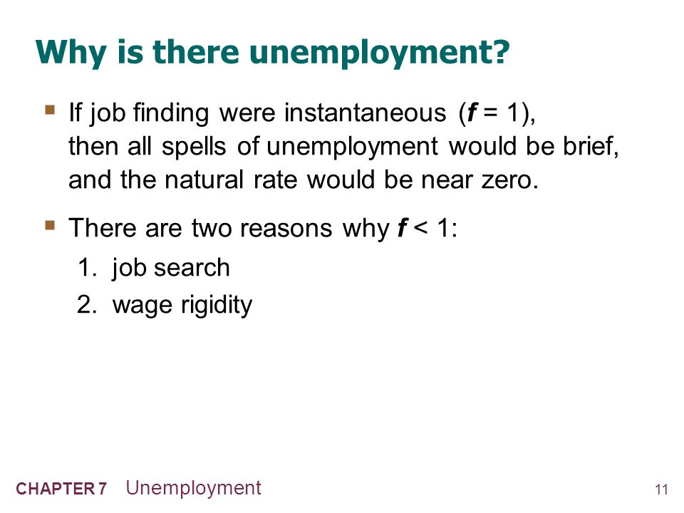 11 CHAPTER 7 Unemployment Why is there unemployment?  If job finding were instantaneous (f = 1), then all spells of unemployment would be brief, and