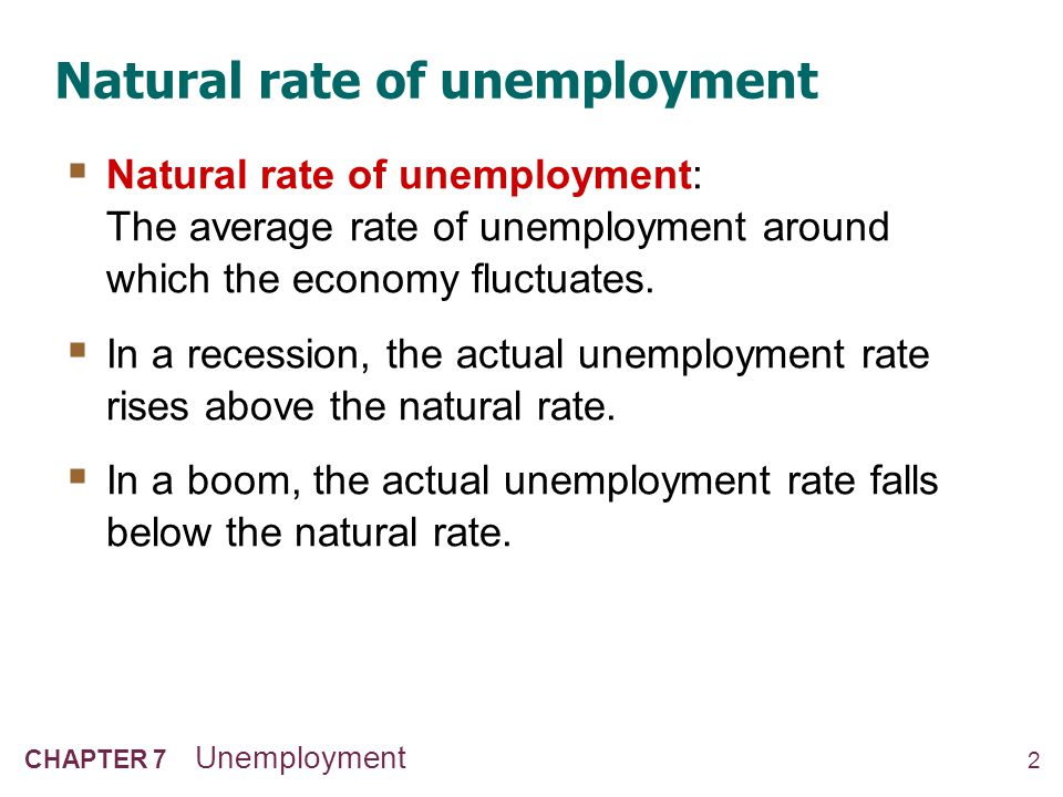 2 CHAPTER 7 Unemployment Natural rate of unemployment  Natural rate of unemployment: The average rate of unemployment around which the economy fluctu