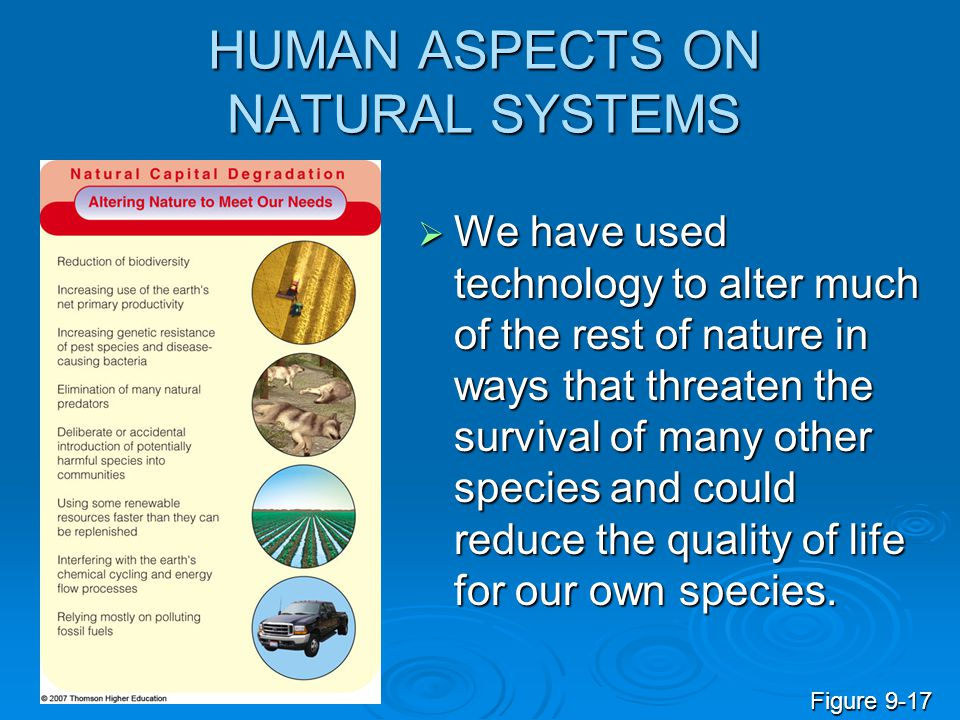 HUMAN ASPECTS ON NATURAL SYSTEMS  We have used technology to alter much of the rest of nature in ways that threaten the survival of many other specie