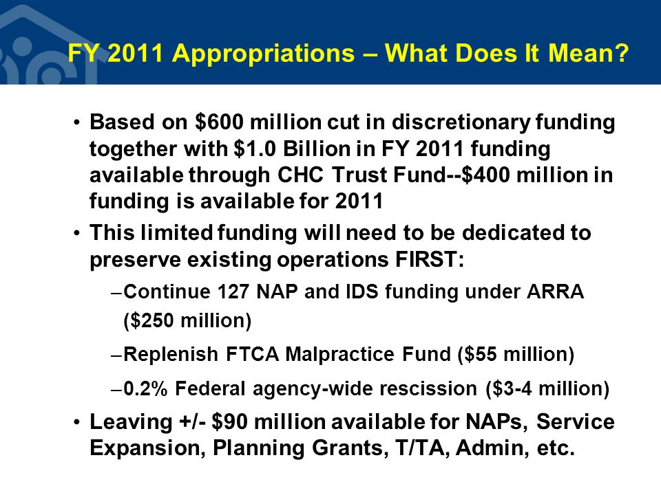 FY 2011 Appropriations – What Does It Mean.