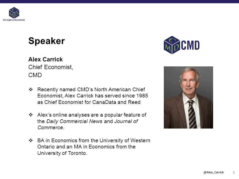 Speaker Alex Carrick Chief Economist, CMD  Recently named CMD's North American Chief Economist, Alex Carrick has served since 1985 as Chief Economist for CanaData and Reed  Alex's online analyses are a popular feature of the Daily Commercial News and Journal of Commerce.