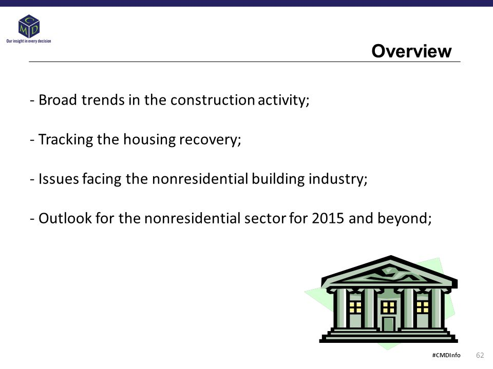 - Broad trends in the construction activity; - Tracking the housing recovery; - Issues facing the nonresidential building industry; - Outlook for the nonresidential sector for 2015 and beyond; Overview 62 #CMDInfo