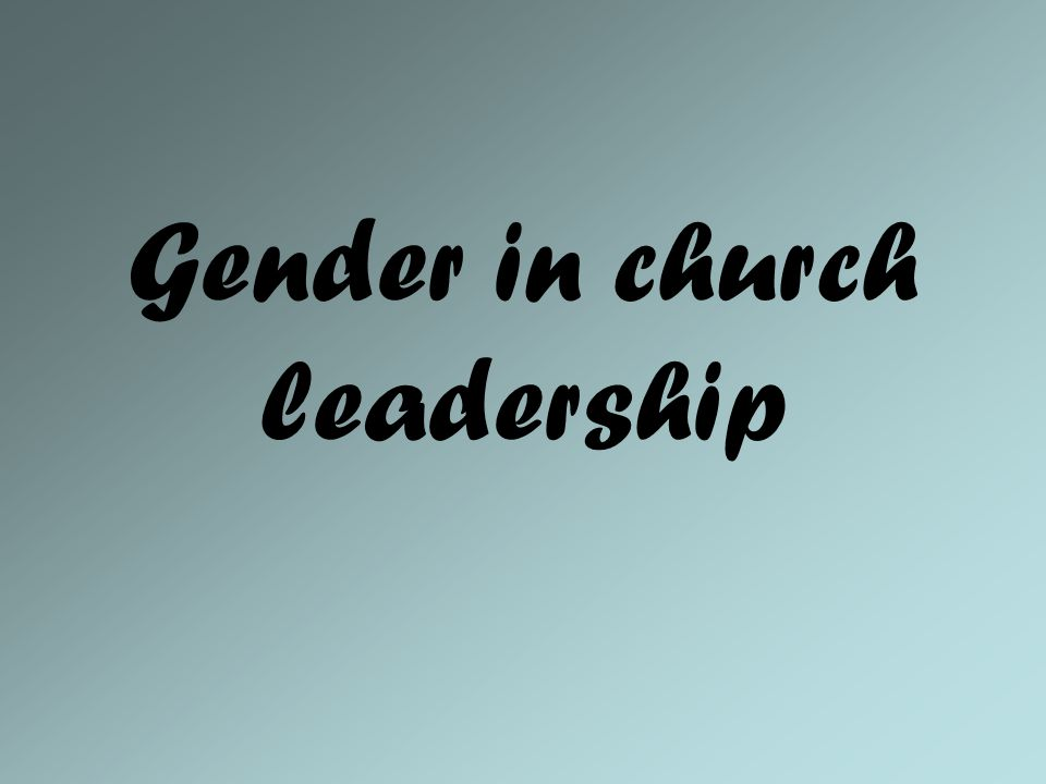 Gender in church leadership