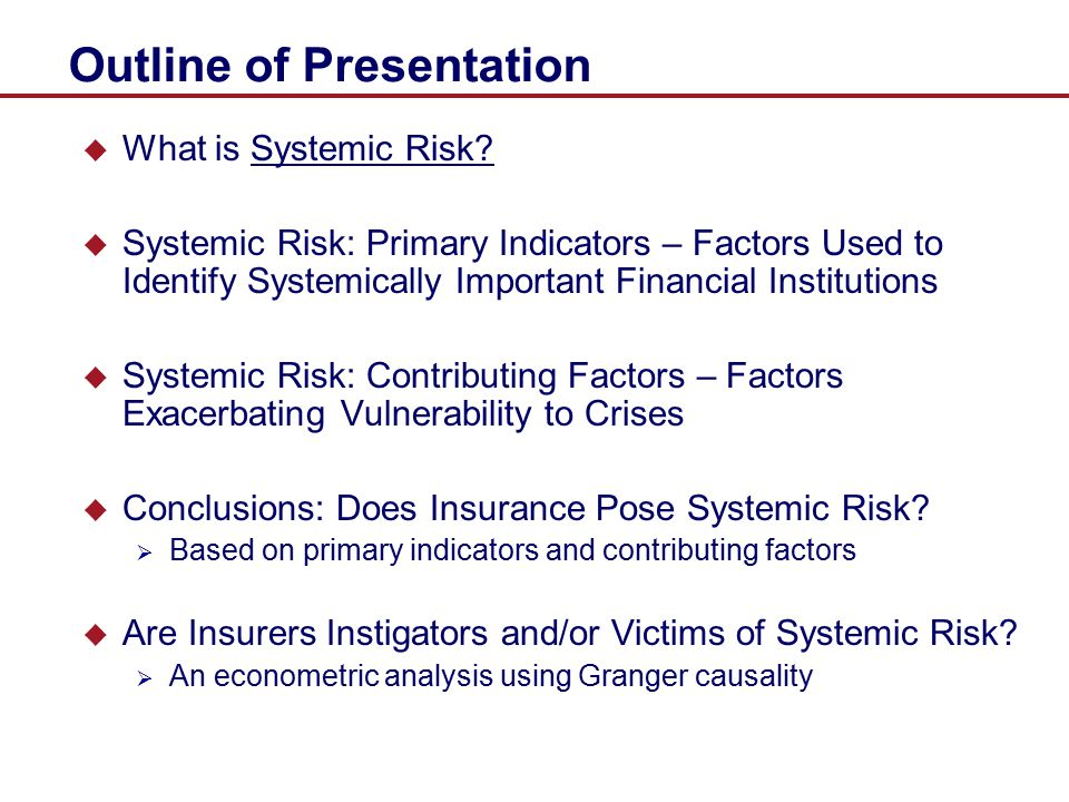 A Measure of Systemic Risk  Estimate forward-looking, risk-neutral indicator of systemic risk of insurance industry: price of insurance against financial distress (DIP)  Define financial distress by choosing a threshold (e.g., 15%) such that the ratio of portfolio credit losses to total liabilities of the insurance sector is equal to or above threshold
